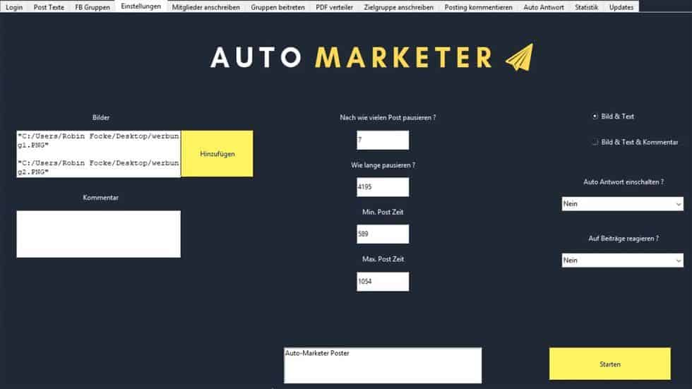 Interface Auto-Marketer